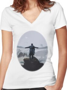 Sherlock above the Sea of Fog Women's Fitted V-Neck T-Shirt