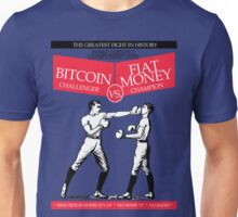 Bitcoin vs Money Boxing Fight Retro Design Unisex T-Shirt