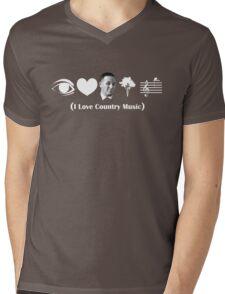 I Love Country Music Mens V-Neck T-Shirt