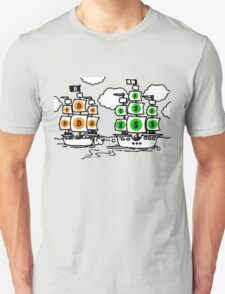 Bitcoin vs Money Pirate Ship Fight Unisex T-Shirt