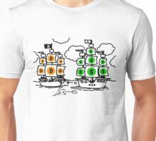 Bitcoin vs Money Pirate Ship Fight Unisex T-Shirt