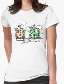 Bitcoin vs Money Pirate Ship Fight Womens Fitted T-Shirt