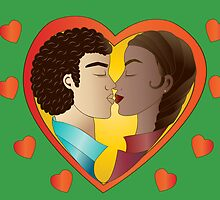 Lovers on green background by shoppy76