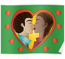 Lovers on green background Poster
