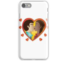 Lovers on green background iPhone Case/Skin