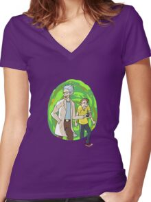 D-D-Don't Worry about it, M-Morty. Women's Fitted V-Neck T-Shirt