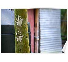 Handprints, Tikal, Guatemala Poster