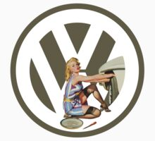 Volkswagen Pin-Up Damsel in Distress (taupe) by Sarah Caudle