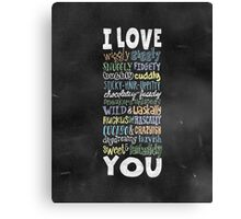 Wiggly Giggly You - Chalkboard Love Poem for Child Canvas Print