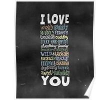 Wiggly Giggly You - Chalkboard Love Poem for Child Poster