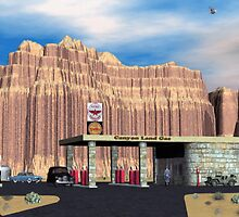 1950 Route 66 Gas Station by Walter Colvin
