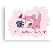 Valentines - Slowpoke and Shellder  Canvas Print