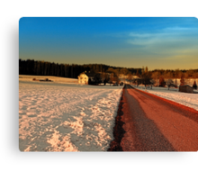 Country road through winter wonderland   landscape photography Canvas Print