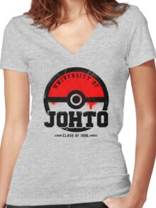 Pokemon - University of Johto (Grunge) Women's Fitted V-Neck T-Shirt