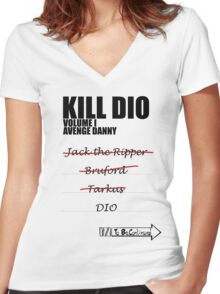 KILL DIO (Black) Women's Fitted V-Neck T-Shirt