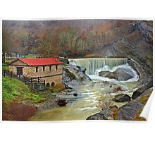 A watermill, a waterfall and a heart shaped rock Poster