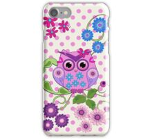 Spring Owl, Flowers & Polka dots case iPhone Case/Skin