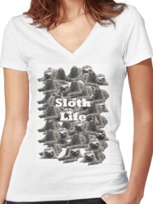 Sloth Life Women's Fitted V-Neck T-Shirt