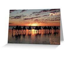 Camel caravan at the Cable Beach, Broome, Wa Greeting Card