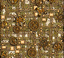 Steampunk Panel, Gears and Pipes - Brass by BonniePhantasm