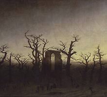 Abbey among Oak Trees by Caspar David Friedrich by TilenHrovatic