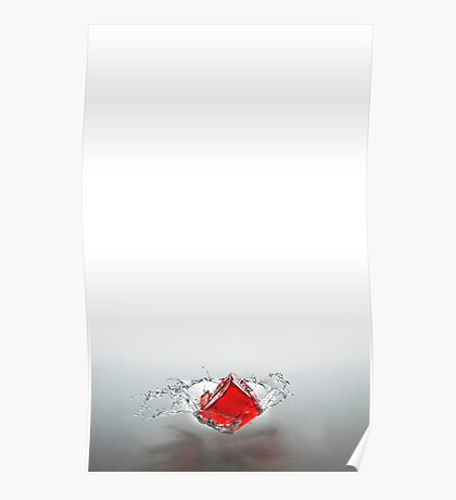 Red Splash. Cubed. Poster