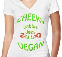 cheeky vegan , Debbie does sallad Women's Fitted V-Neck T-Shirt