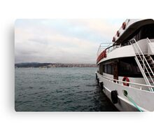 a boat docked on the bosphorus. Canvas Print