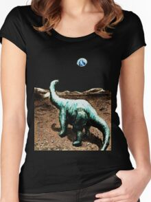 Dinosaur on the Moon Women's Fitted Scoop T-Shirt