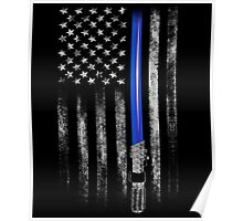 THIN BLUE LINE - STAR WARS - LIGHT SABER - THE FORCE Poster