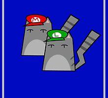 Mario and Luigi cat by Rjcham