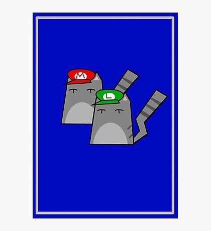 Mario and Luigi cat Photographic Print