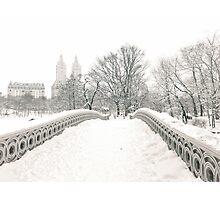 Winter View - Bow Bridge - Central Park - New York City Photographic Print