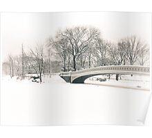 Bow Bridge After Snowfall, Central Park, New York City Poster