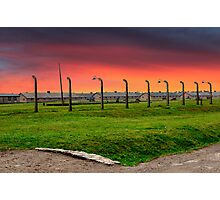 Blood sky over Auschwitzz Photographic Print