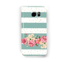 Vintage flowers gold faux glitter dots stripes  Samsung Galaxy Case/Skin