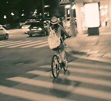 Girl on Bicycle by cinema4design