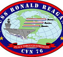 USS Ronald Reagan - CVN 76 - Peace Through Strength by VeteranGraphics