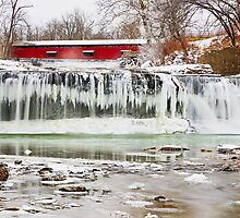 Red Covered Bridge and Frozen Waterfall by Kenneth Keifer