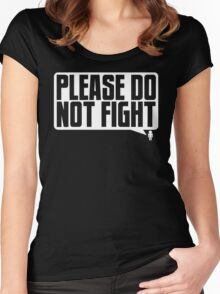 Please Do Not Fight Logo (White) Women's Fitted Scoop T-Shirt
