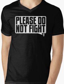 Please Do Not Fight Logo (White) Mens V-Neck T-Shirt