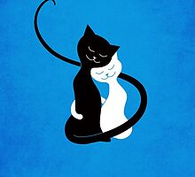 Blue White And Black Cats In Love by Boriana Giormova