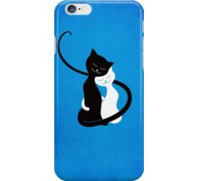 Blue White And Black Cats In Love iPhone Case/Skin
