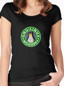 Tux : GNU/LINUX FREEDOM Women's Fitted Scoop T-Shirt