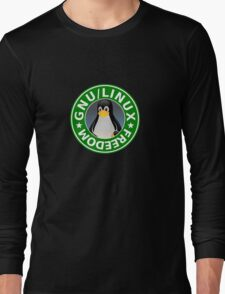Tux : GNU/LINUX FREEDOM Long Sleeve T-Shirt
