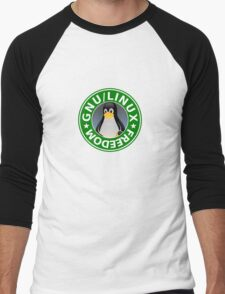 Tux : GNU/LINUX FREEDOM Men's Baseball ¾ T-Shirt