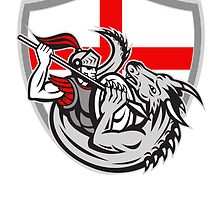English Knight Fighting Dragon England Flag Shield Retro by patrimonio