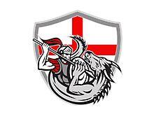 English Knight Fighting Dragon England Flag Shield Retro Photographic Print