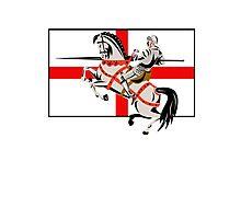 English Knight Lance Horse England Flag Side Retro Photographic Print