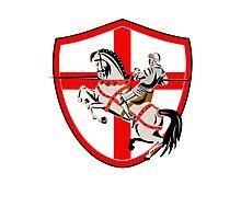 English Knight Rider Horse England Flag Retro Photographic Print